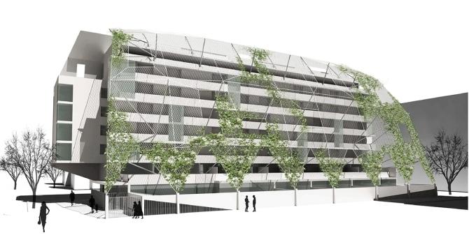 Wohnhaus Wilhelm-Kaserne - Конкурсен проект за жилищна сграда във Виена от 2006 г.    –      Автор / Източник: www.skyline-architekten.at